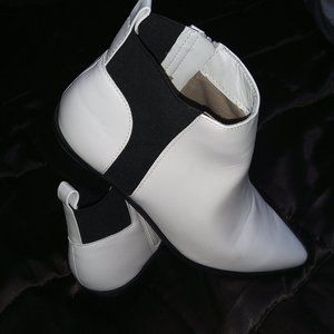 Size 10, Cute White/Black Booties (Brand New)